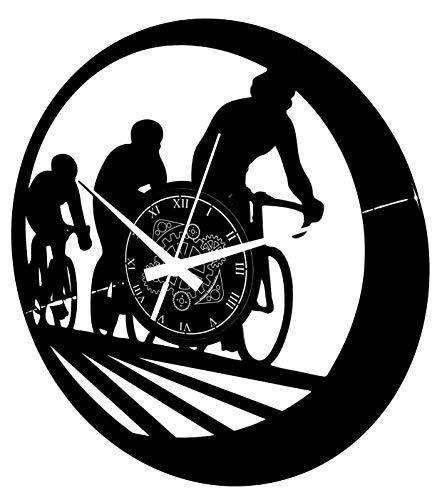 Instant Karma Clocks Reloj de Pared de Vinilo, diseño de Ciclistas, Tour de Francia, Giro de Italia, Bicicleta, Ciclismo, Negro