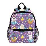 Mochila para niños con mochila para niños y niñas de guardería de escuela primaria de excursión azul oscuro vintage floral Púrpura Violeta Pascua Con Conejos 25.4x10x30 CM/10x4x12 in