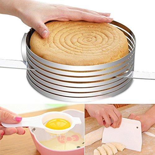 Ankoow Cercle à gâteau extensible à fentes pour découpe facile 15-20 cm + séparateur de jaune d'œuf + coupe-pâte
