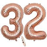 Globos numeros 32 años, Number globo número 32 oro rosa para niña Mujeres Chica, 40' Figuras Decor globo de lámina de helio inflable, gigante grande decoración fiesta de cumpleaños boda (xxxl 100cm)