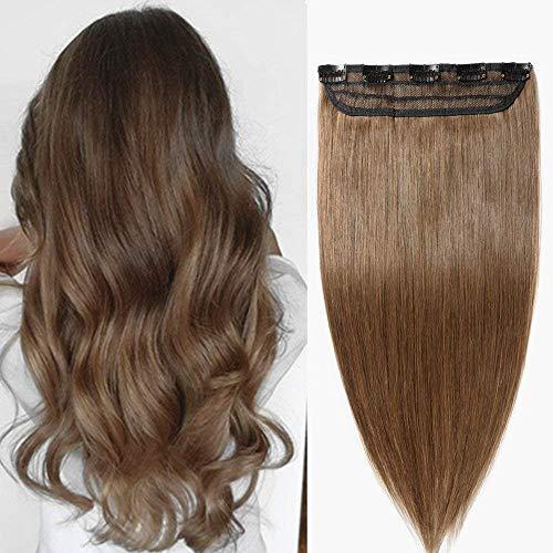 Extension Clip Capelli Veri Fascia Unica 45cm 50g #6 Castano One Piece Remy Human Hair Lisci Lunghi
