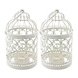 Ciaoed Small Metal Tealight Hanging Birdcage Lantern, Vintage Decorative Centerpieces of Wedding & Party Christmas Pack of 2 (White)