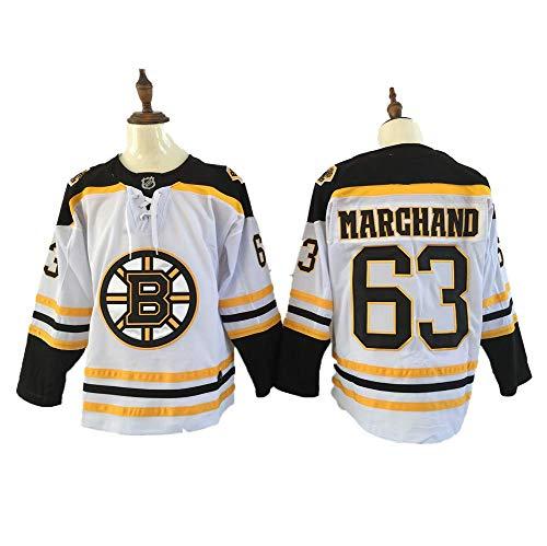 Yajun Brad Marchand#63 Boston Bruins Eishockey Trikots Jersey NHL Herren Sweatshirts Atmungsaktiv T-Shirt Bekleidung,White,M