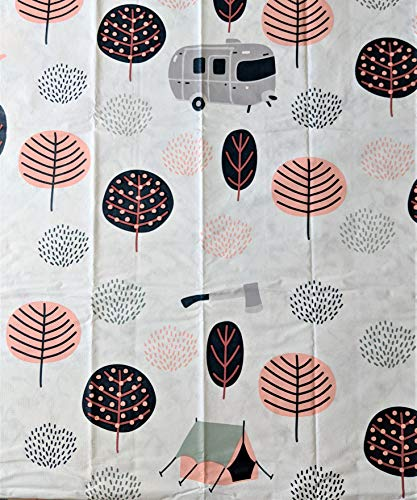 """Crabtree Collection Vinyl Tablecloth Indoor/Outdoor Dining Flannel Backed Table Cover Easy to Clean Craft Picnic Party Tablecloth (Camping 24""""x48"""" Elastic)"""
