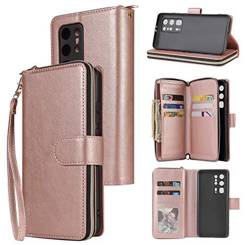 nancencen Handyhülle Kompatibel mit Huawei P40 Pro Plus, Lederhülle Flip Cover Brieftasche Hülle Kreditkartenschlitz (9 Karten) für Huawei P40 Pro Plus Schutzhülle -Roségold