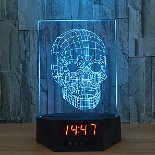 Nachtlampje, acryl, intelligent, LED, kleur lamp, gekleurd, draagbaar, touch control en afstandsbediening, nachtlampje, tafellamp met zwarte klok (tijd, datum), cadeau voor feem C