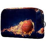Basketball Game Concept - Bolsa de maquillaje portátil con impresión de neceser, bolsa de cosméticos para mujer