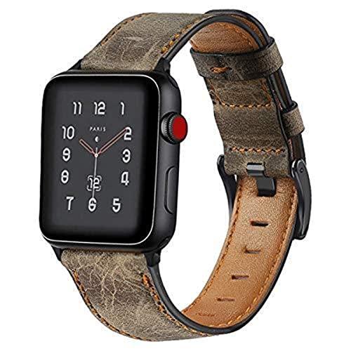 Correa de cuero Para correa de reloj de Apple 44 mm 40 mm 42 mm 38 mm Correa de reloj retropara pulsera iWatch-Café marrón, 42 mm o 44 mm