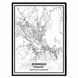 Schwerin Deutschland Karte Wandkunst Leinwand drucken