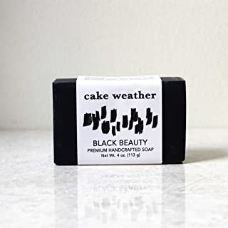 Charcoal Soap - BLACK BEAUTY - Detoxifying 100% Natural Handcrafted Soap, Ethically Made in USA with Acne Fighting Ingredients, Great for Face, Back + Body (Single Bar)