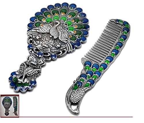 De Style européen Petit Miroir Peigne Retro Portable Poignée de Miroir de Maquillage (Color : Blue)