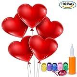 Materiale: Lattice di alta qualità. Colore: Rosso; Gonfiabile: elio o aria. Il kit di palloncini rossi del cuore viene fornito con una pompa di palloncini a mano di alta qualità (colore casuale) e 6 Nastro colorato. Qualità dell'elio di aerostati di ...