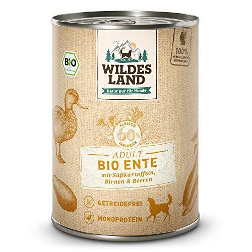 Wildes Land | Nassfutter für Hunde | Bio Ente | 6 x 400 g | Getreidefrei & Hypoallergen | Extra hoher Fleischanteil von 60% | 100% zertifizierte Bio-Zutaten | Beste Akzeptanz und Verträglichkeit