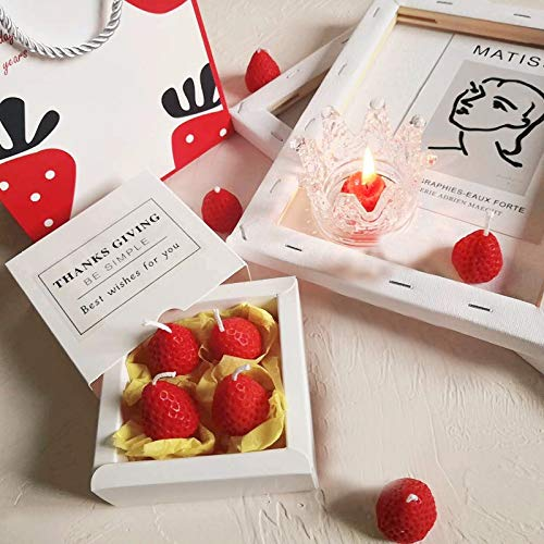 Denly Scent Strawberry Candle,Aromatherapy Gift Romantic Atmosphere (1×Candle Aromatherapy Gift Box,4 x candles)