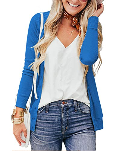 a.Jesdani Long Sleeve Crew Neck Button Down Soft Cardigan Sweaters for Women Blue L