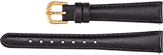 Ladies 11 mm Regular Black Leather Calf Padded Watch Strap