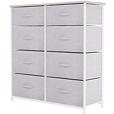 YITAHOME Storage Tower Unit with 8 Drawers - Fabric Dresser with Large Capacity, Organizer Unit for Bedroom, Living Room & Closets - Sturdy Steel Frame, Wooden Top & Easy Pull Fabric Bins (Light Gray)