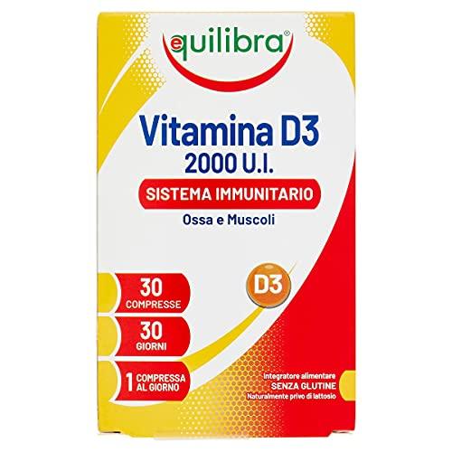 Equilibra Integratori Alimentari, Vitamina D3, Integratore Vitamina D3 per la Normale Funzione del Sistema Immunitario, per il Mantenimento di Ossa Normali, 2000 UI, 30 Compresse Altodosate