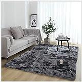 RUNYA Alfombra de salón grande de piel sintética suave de piel de oveja, alfombra moderna Shaggy gris oscuro 0,8 m x 1,6 m