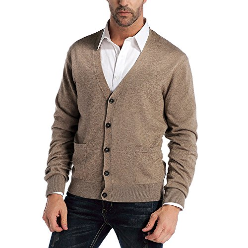 CHAUDER Men's Relax Fit V-Neck Cardigan Cashmere Wool Blend Button with Pockets (M, Coffee)
