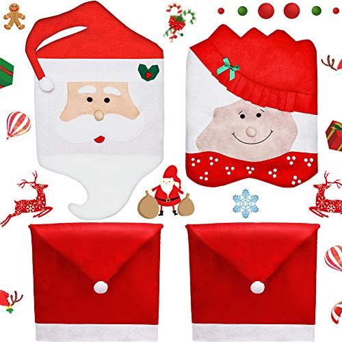 Cubierta de la Silla Decoración de Navidad,BETOY 4 PCS Home Rojo Decoración Navideña Fundas para Sillas de Papá Noel Cubiertas la Silla Cubre Respaldos Navideños para Decoración Fiesta Cena de Navidad