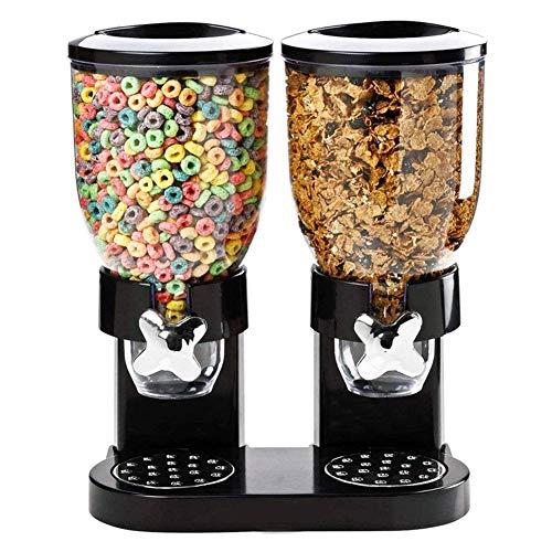 YVX Dispensador Doble de Cereales - Contenedor de Almacenamiento de Alimentos seco, hermético y Transparente con Bandeja de derrames incorporada, para Desayuno/Comida para Perros y Gatos
