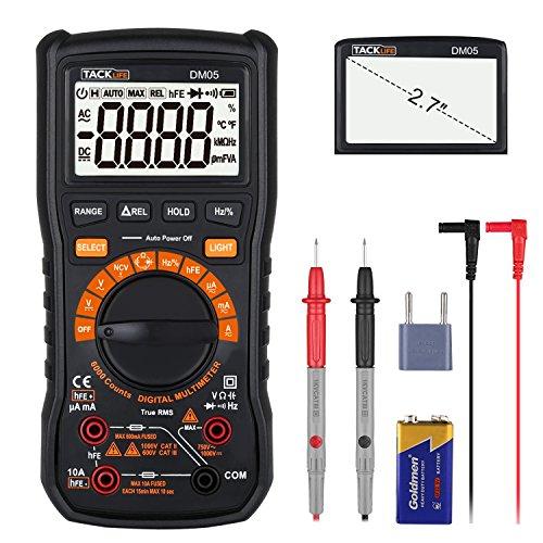 Multímetro Digital, Tacklife DM05 Polimetro 6000 counts, Manual automático de...