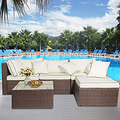 MIERES 5 Pieces Patio Furniture, Outdoor Garden Lawn Sofa Wicker Rattan Conversation Sets All Weather with Cushioned and Glass Coffee Table for Lounge, Brown Beige
