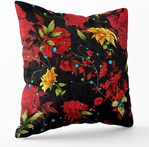 Fundas de almohada de África Crannel, impresión de doble cara, cojín de lanzamiento de 45 x 45 cm, diseño de flores de fondo floral, cremallera invisible, sofá decorativo para el hogar