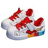 WEIR Zapatillas de Deporte para niños Pikachu Graffiti, Ligeras, fáciles de Caminar, Zapatos Deportivos Casuales para niños y niñas,Red-26 EU