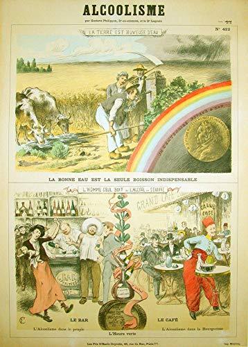 Vintage bieren, wijnen en sterke drank 'Absint - Propaganda tegen absint op scholen', 1907, 250gsm Zacht-Satijn Laagglans Reproductie A3 Poster