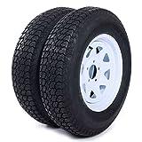 AutoForever 2pcs Trailer Tires & Rims ST205/75D15 F78-15 205/75-15 15' 5 Lug 4.5' Wheel White Spoke