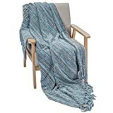 """DECOMALL Decorative Throw Blanket with Fringe Soft Striped Multi Color Throws for Couch Sofa Armchair Bed 50""""x 60"""", Blue Multi"""