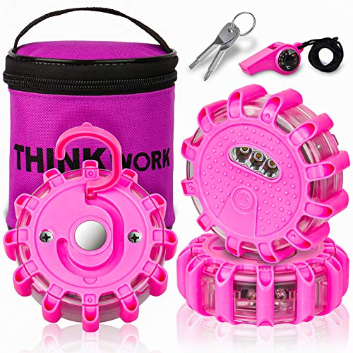 THINKWORK LED Road Flares for Teenage Girls and Ladies Gifts,Pink Roadside Safety Flashing Emergency Disc Beacon Kit with Compass Whistle,Magnetic Base&Hook for Vehicles&Boats (Not Including Battery )