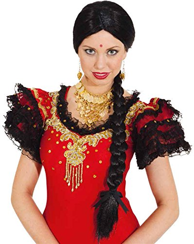 Orlob Damen Perücke Indira zum Inderin Bollywood Kostüm Karneval Fasching