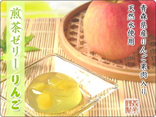 森半 煎茶ゼリー りんご 6個入り [天然水使用、青森県産りんご果肉入り]