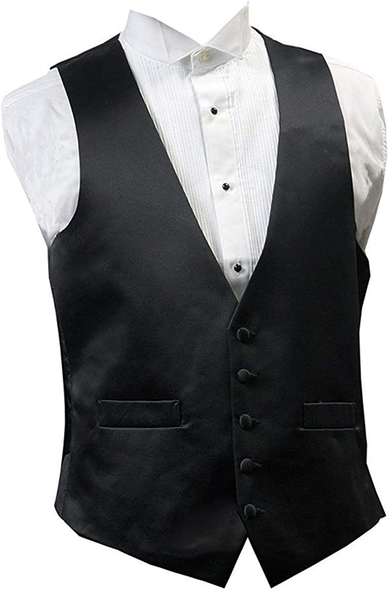 Broadway Tuxmakers Mens Black Five Button 100% Wool Vest with Satin Back (46 Long)