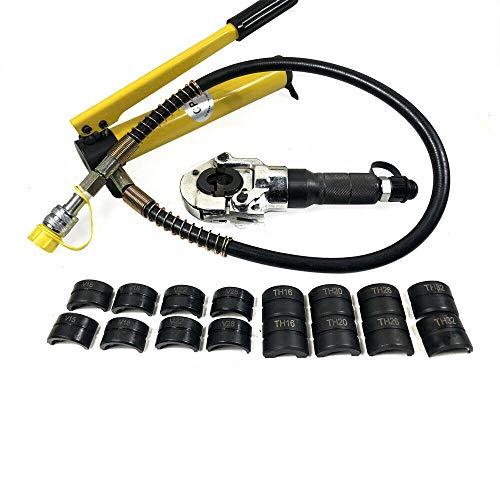 Hydraulische Presszange 6T V Kontur Rohrpresszange Crimpzange Kupferrohr Pressbacken Mit 360 ° Drehbarer Kopf (12-28mm)