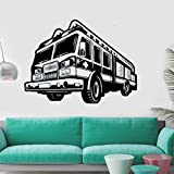 Fire Car Decal Art Vinyl Wall Sticker Engine Fireman Firefighter Remove Bedroom Livingroom Decoration Poster 42x56cm
