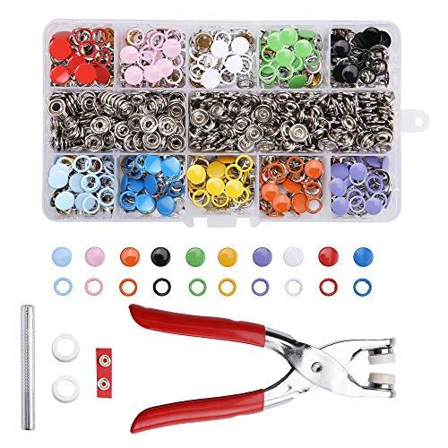 TWBEST Botones de Huecos Presión,Juego de 200 Botones de presión Huecos, Juego de Traje, alicates, Hebilla, Anillo de Metal, para Ropa Infantil de bebé, 9,5 mm, 10 Colores