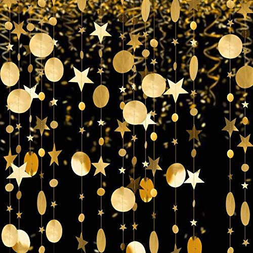 Garland Streamer, Hanging (CDK) Backdrop, Birthday, Graduation, Party (3 Garlands, Gold Glitter)