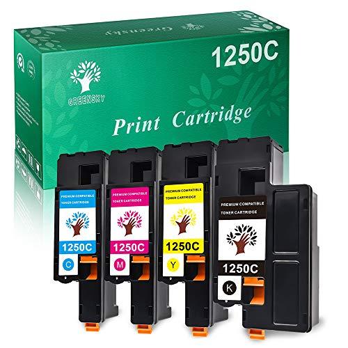 GREENSKY Compatible Toner Cartridge Replacement for Dell 1250 810WH C5GC3 XMX5D WM2JC to use with 1250c C1760nw C1765nfw 1350cnw 1355cn 1355cnw Printer (1 Black, 1 Cyan, 1 Magenta, 1 Yellow) (4PK)