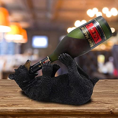 Estante De Vino Para DecoracióN De Oso Negro, Soporte Para Botella De Vino, 12 X 6.5 X 7.75 Pulgadas, Modelo Animal Creativo De Resina, Escultura, Adornos Para Sala De Estar
