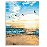 DIY Paint by Numbers for Adults, Canvas Oil Painting Kit for Kids & Adults Beginner, 16X20 inch with 3 Brushes & Pigment -Beach