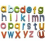 27 Lettres Minuscules Aimants en Bois de Réfrigérateur pour l'Apprentissage d'Enfant Jouet pour Jeunes Enfants