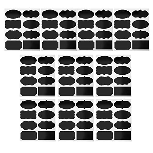Fusion Graphix 80 Pieces Fancy Chalkboard Blackboard Chalk Board Stickers Decals Craft Kitchen Jar Labels Bottle Stickers 5cmx3.5cm J-001