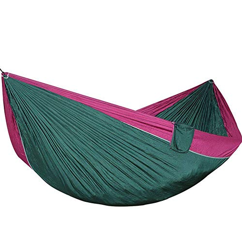 GUATANGT Hamac De Camping,Ultralight Outdoor Camping Double Sleeping Bed Parachute Portable Séchage Rapide Garden Swing Tent Respirable Nylon Green Purplehammock for Survival Randonnée Voyage