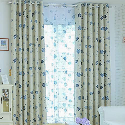 Topfinel Cortinas Estampado Translúcidas Visillos Paneles para Ventanas niños Habitaciones Gasa Salon Dormitorio Moderno con Azul Oscuro Floral Impresión de Ojetes,140 x 225cm 2 Pieza