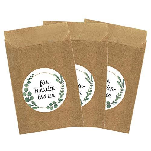 50 braune Papiertüten & 50 Freudentränen Aufkleber für die Hochzeit | Verpackung für Freudentränen Taschentücher | Vintage Deko (Papiertüten & Sticker) - Set 4