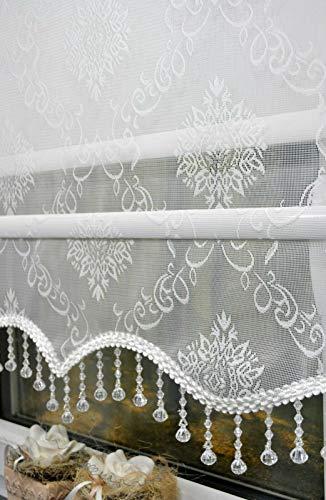 kskeskin Doppelstoff Rollo mit Perlen Volant Transparent oder Blickdicht Farbe Weiß Stoff RTE06 (B 160 cm L 200 cm)